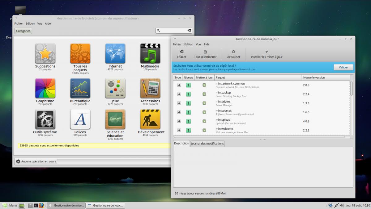 Logithèques et gestionnaire de mises à jour sous LinuxMint