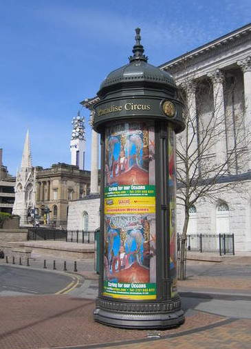 http://commons.wikimedia.org/wiki/File:Column_Morris,_Paradise_Circus_-_geograph.org.uk_-_556615.jpg